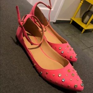 F21 pink jewel pointed flats size 7